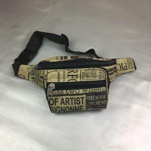Handbags - Newspaper print fanny pack/ waist bag